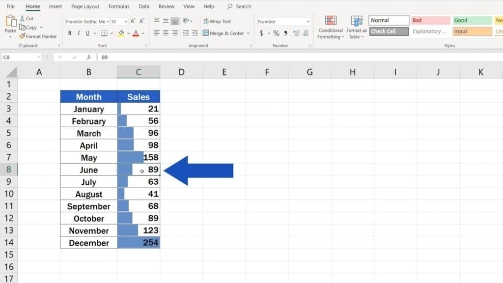 Try out Data Bars in Excel for clear graphical data representation - manage rules conditional formatting