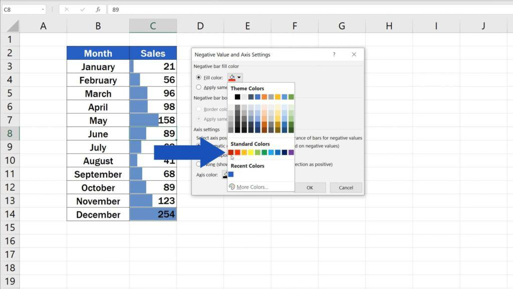 Try out Data Bars in Excel for clear graphical data representation - select colour for negative values
