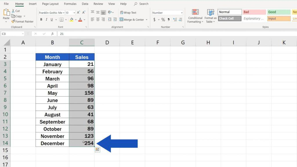 Try out Data Bars in Excel for clear graphical data representation - select relevant data