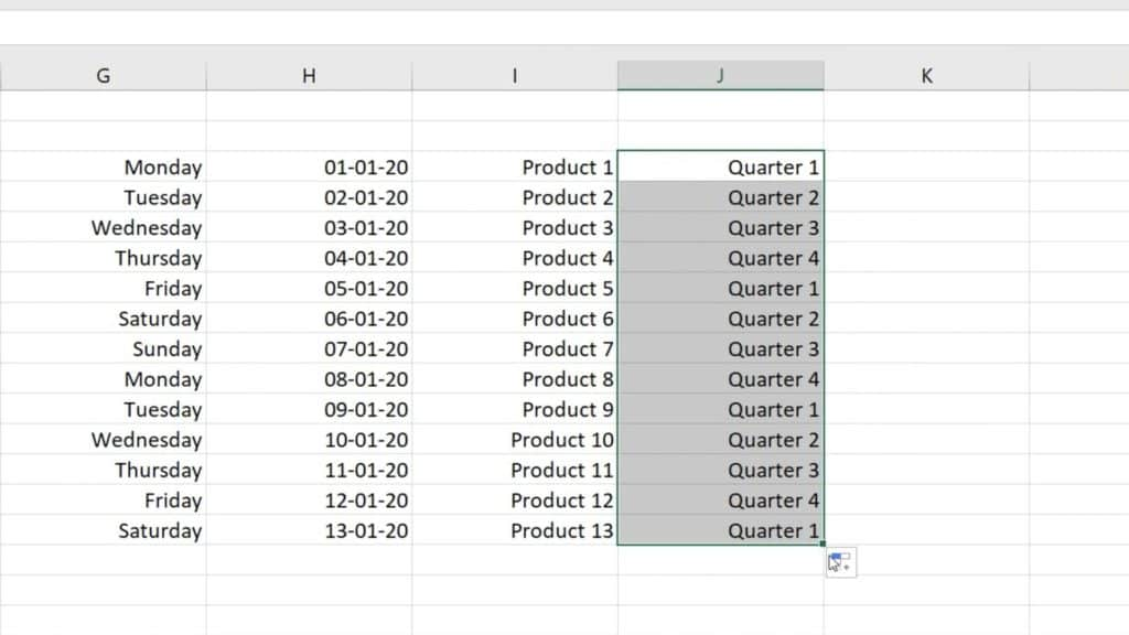 How to Use AutoFill in Excel - automatically filled quarters in Excel