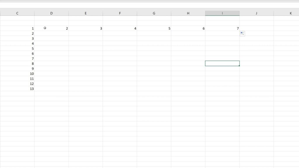 How to Use AutoFill in Excel - horizontally written numbers in Excel