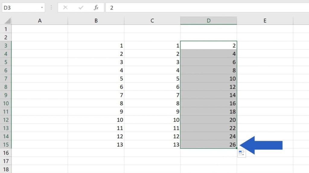 How to Use AutoFill in Excel - how to fill only even numbers in Excel automatically