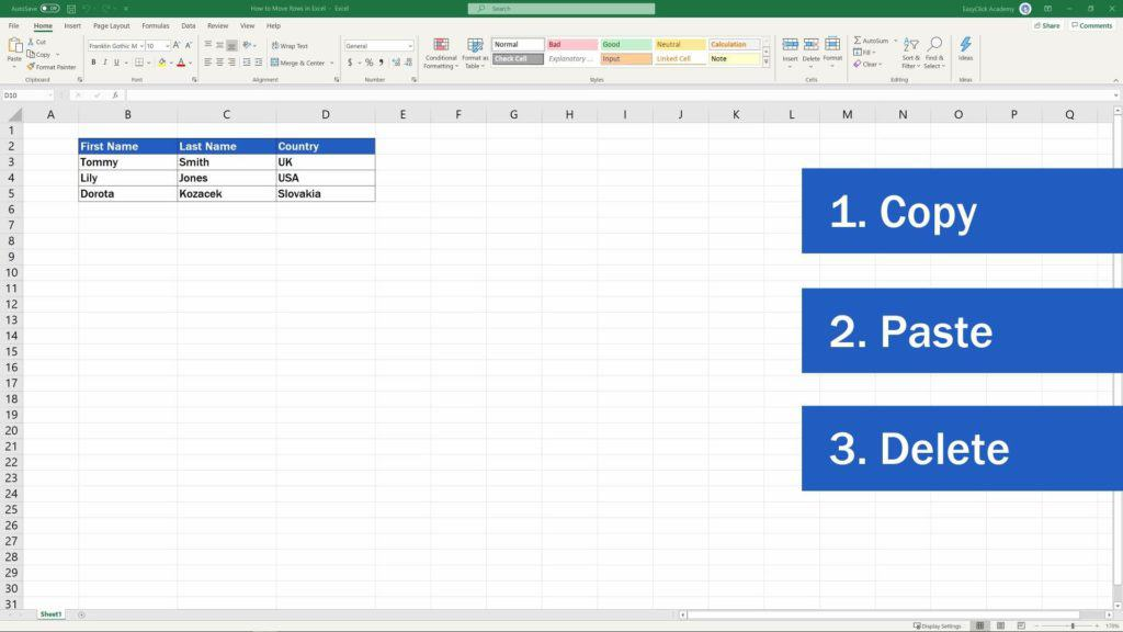 How to Move Columns in Excel - copy, paste, delete