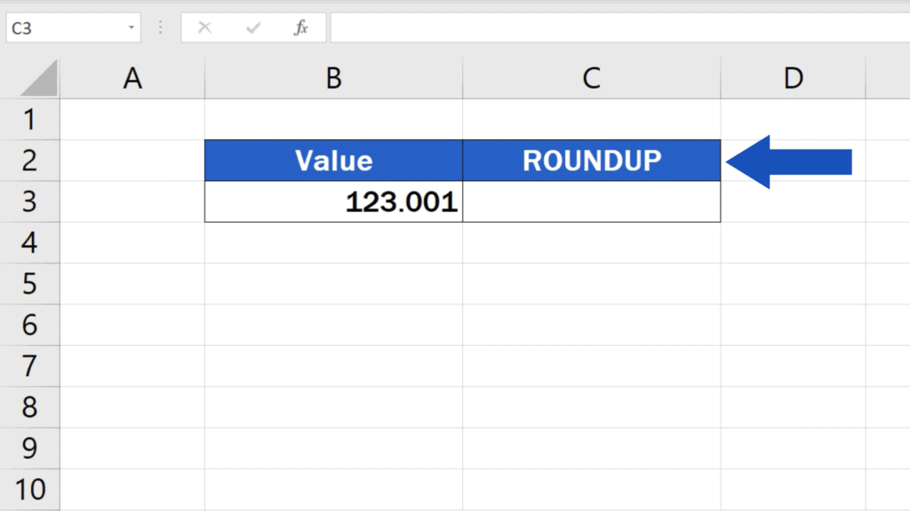 How to ROUNDUP in Excel - function ROUNDUP
