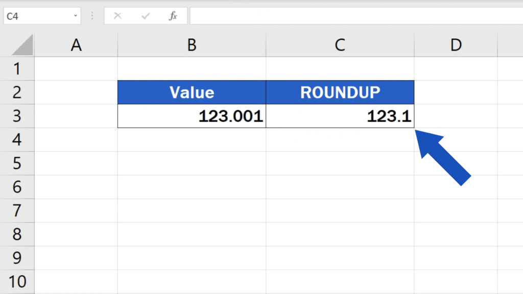 ROUNDUP - number rounded up to one decimal place