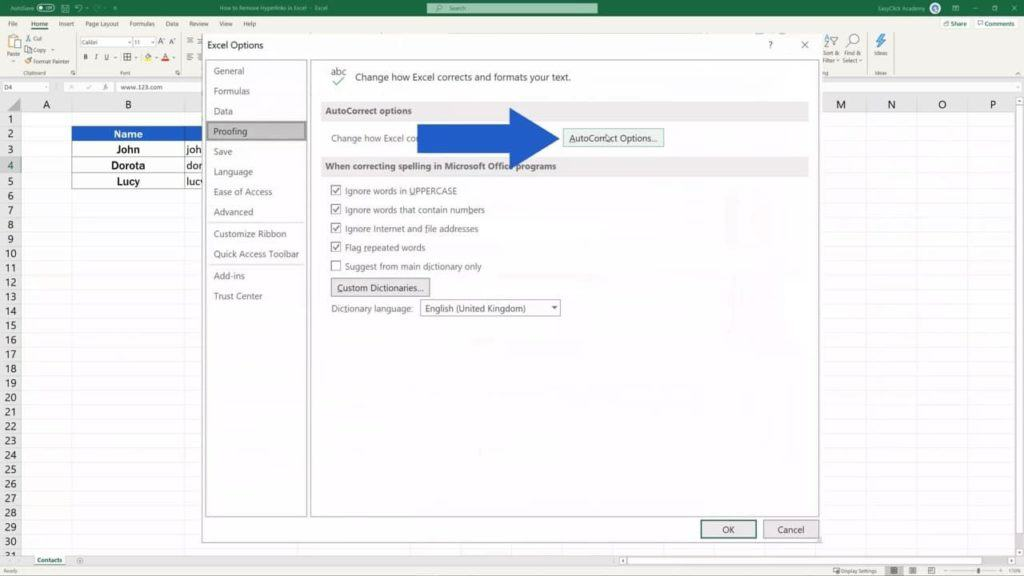 How to Remove Hyperlinks in Excel - Automatic hyperlink disabled