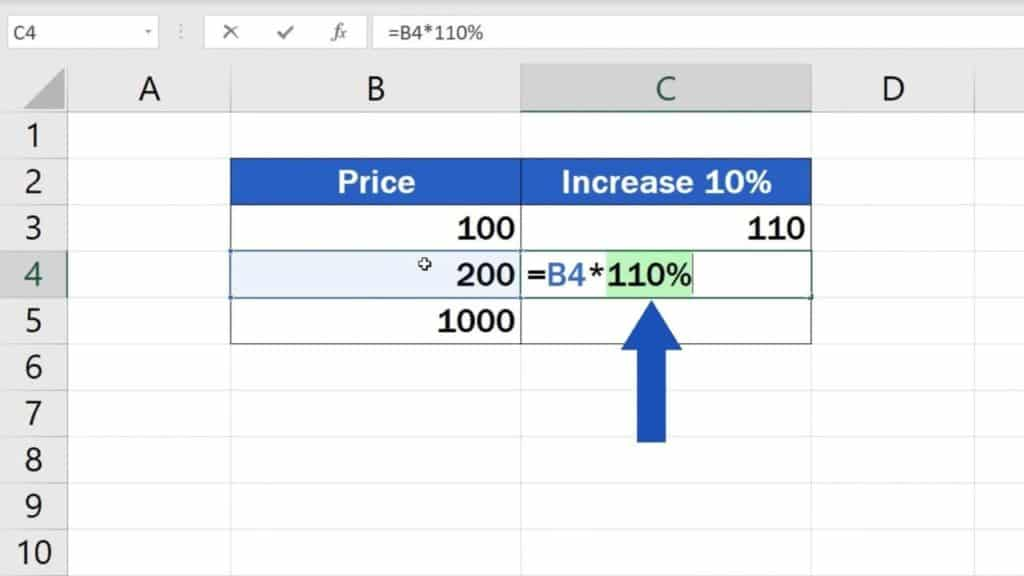 How to Calculate Percentage Increase in Excel - Multiply by '110%'