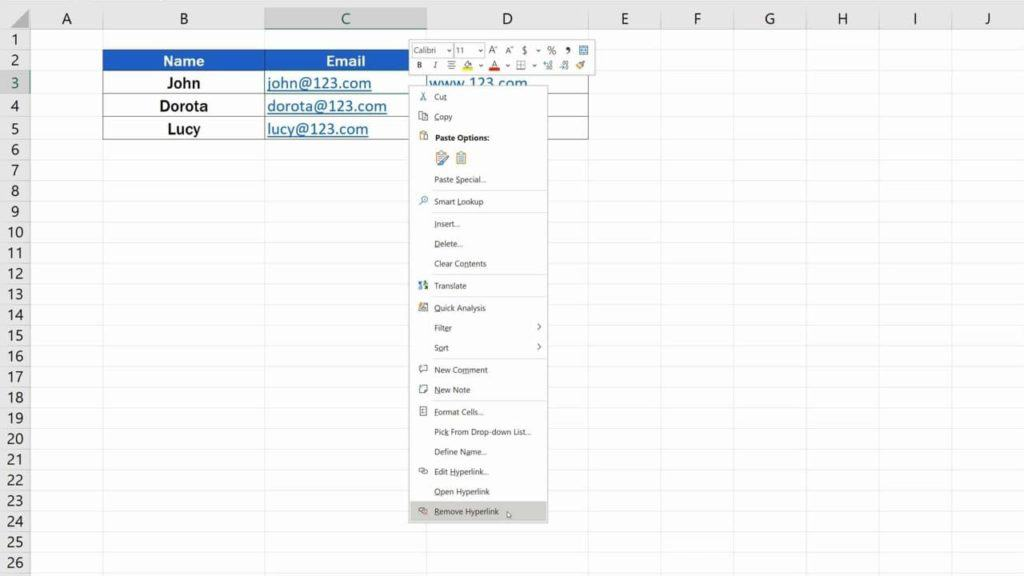 How to Remove Hyperlinks in Excel - Removing the hyperlink