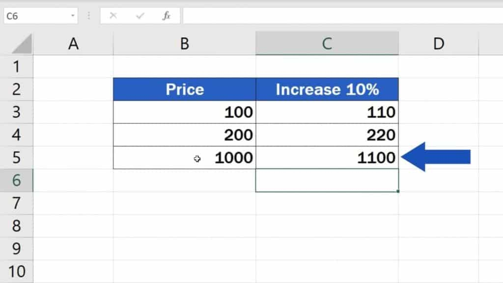 How to Calculate Percentage Increase in Excel - Third way result