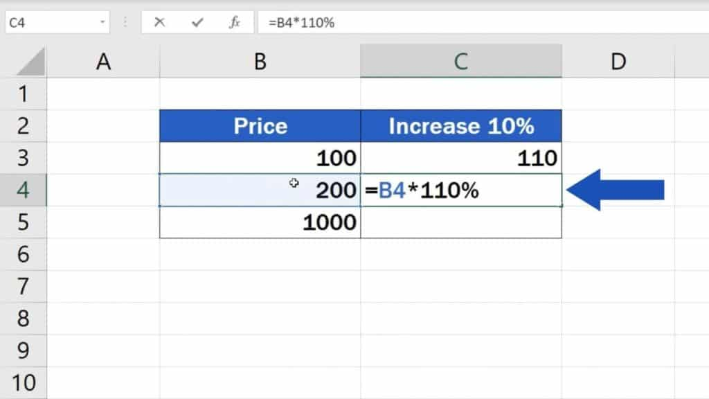 How to Calculate Percentage Increase in Excel - Second way