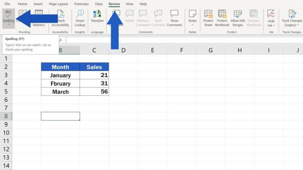 How to Check Spelling in Excel - Where the find the spellchecker and how to use it