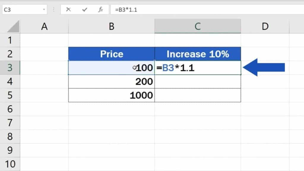 How to Calculate Percentage Increase in Excel - First way