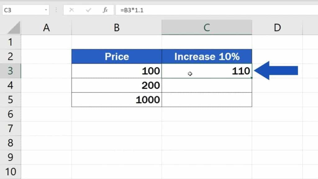 How to Calculate Percentage Increase in Excel - Result of the first way