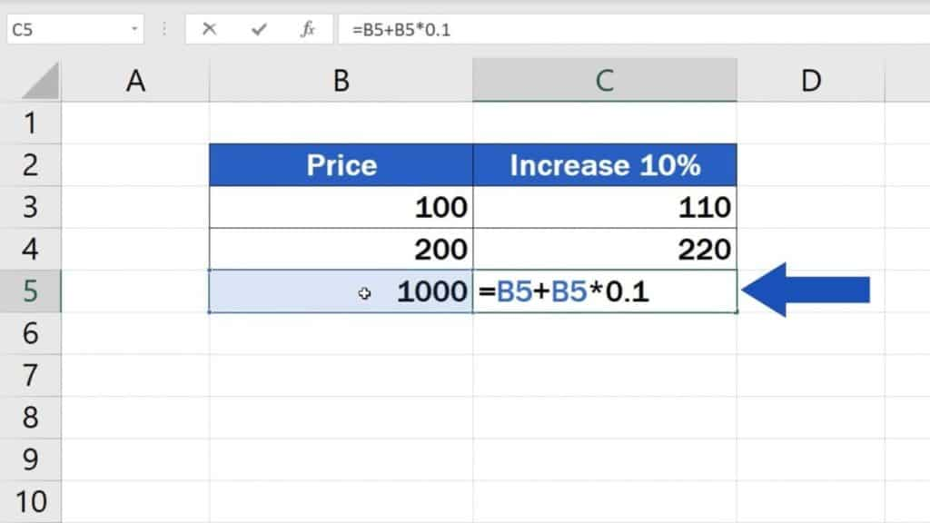 How to Calculate Percentage Increase in Excel - Third way