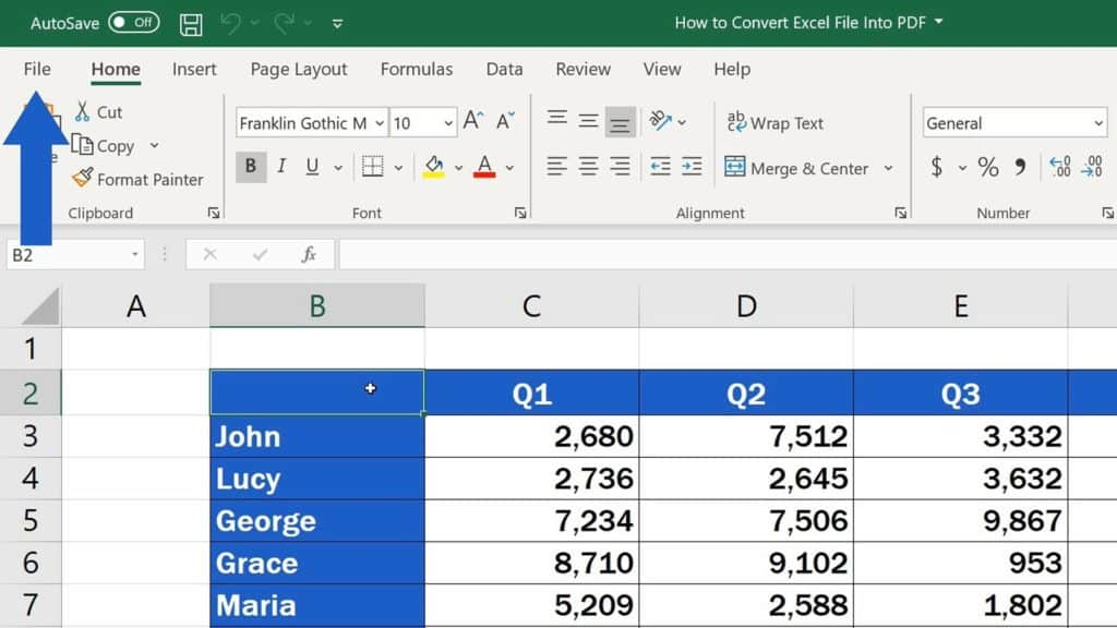 How to Convert an Excel File into PDF - File Menu