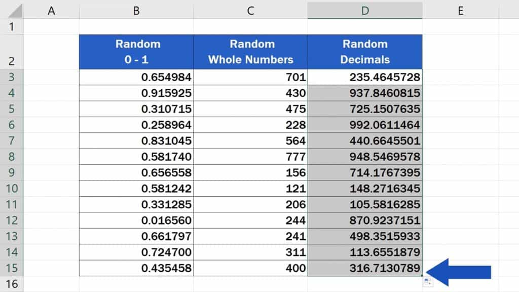 How to Generate Random Numbers in Excel - Copy The Function