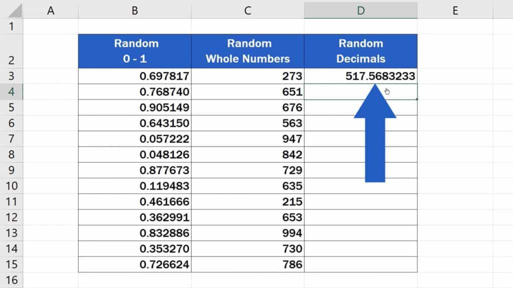 How to Generate Random Numbers in Excel - Generated Random Decimal