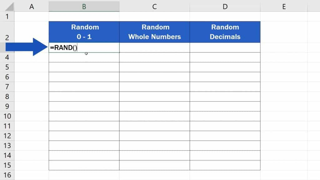 How to Generate Random Numbers in Excel - Suggested Function RAND