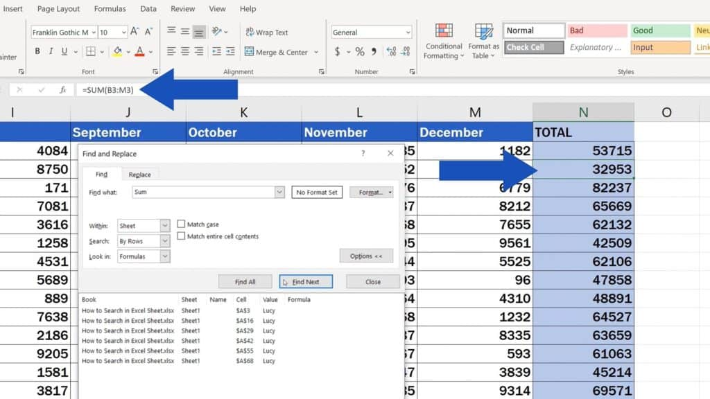 How to Search in Excel Sheet - Find the next cell where the function 'Sum' is located