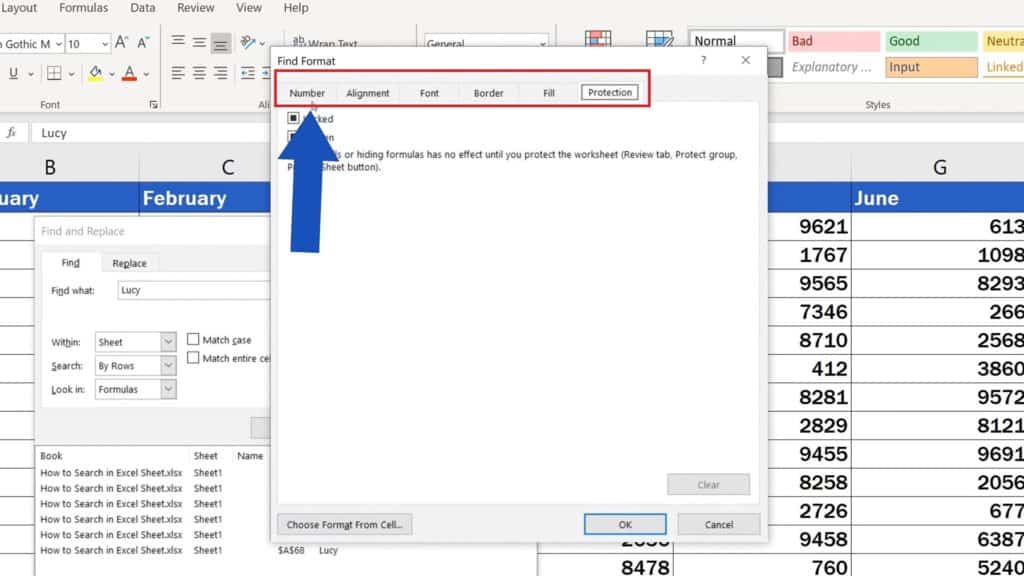 How to Search in Excel Sheet - Search based on specific formatting