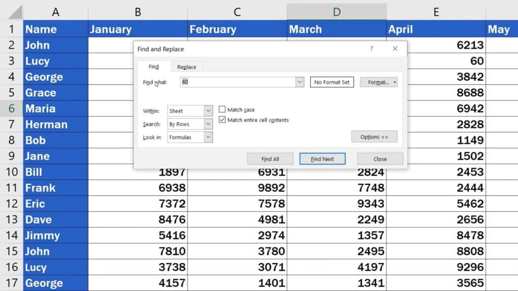 How to Search in Excel Sheet -  Shortcut 'Ctrl' and 'F'
