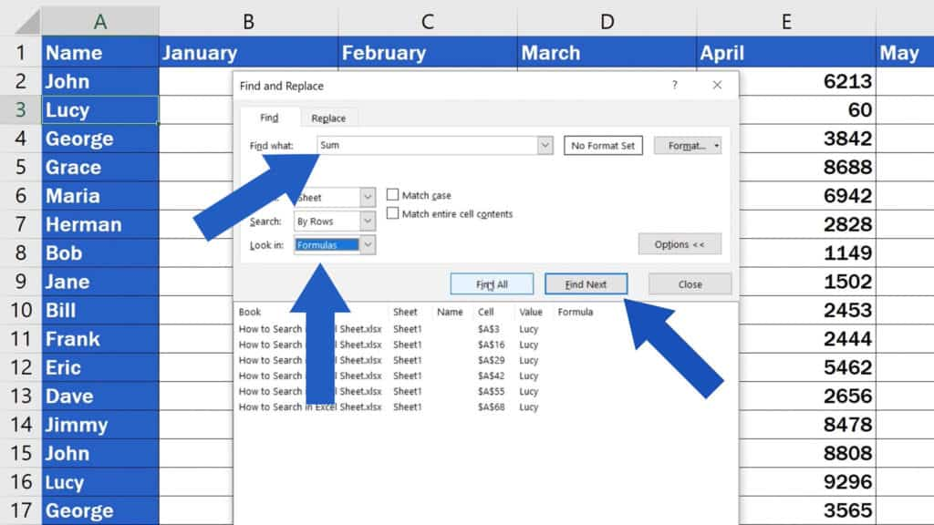 How to Search in Excel Sheet - To find where within the sheet is the function 'Sum'