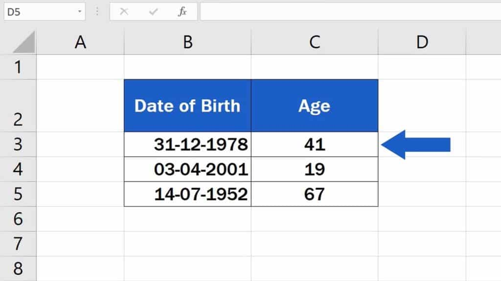 How to Calculate Age Using aDate of Birth in Excel - Each row now contains the calculated age