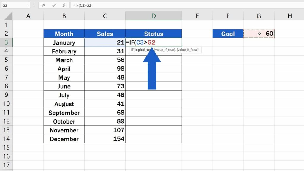 How to Use IF Function in Excel - Compare number in the cell C3 to G2