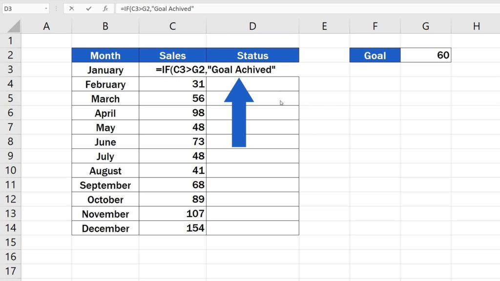 How to Use IF Function in Excel - Goal Achieved
