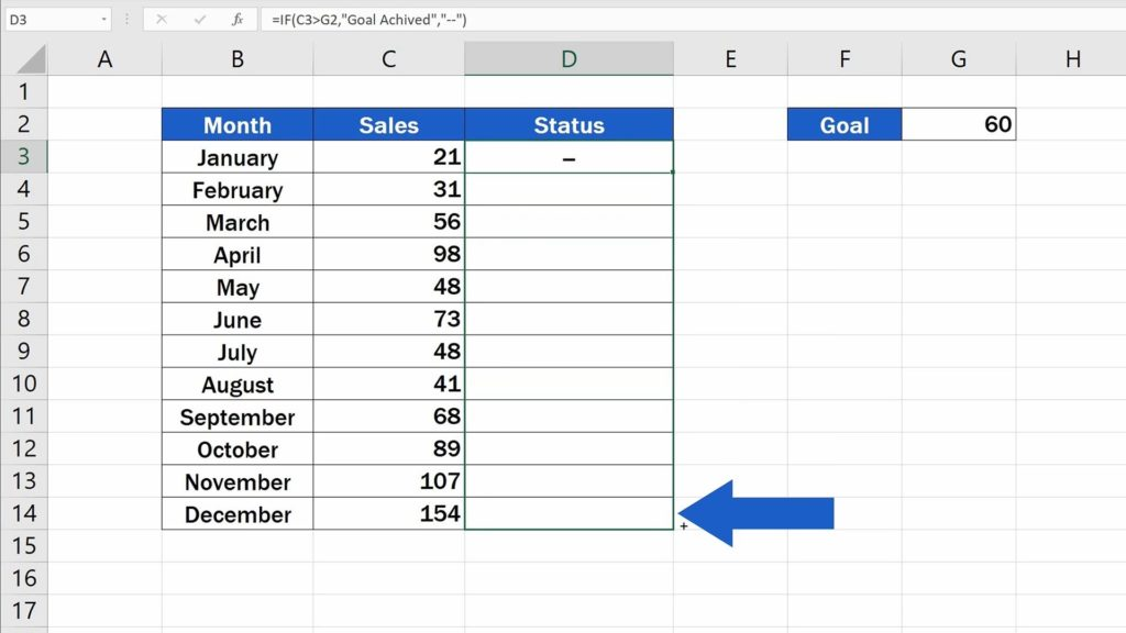 How to Use IF Function in Excel -  copy the function