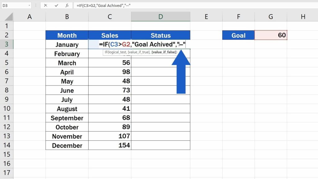How to Use IF Function in Excel -  dash in quotation marks