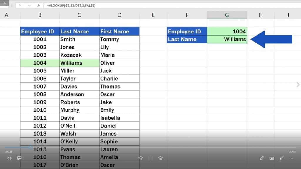 How to Use the VLOOKUP Function in Excel -Look up the employee's family name based on ID