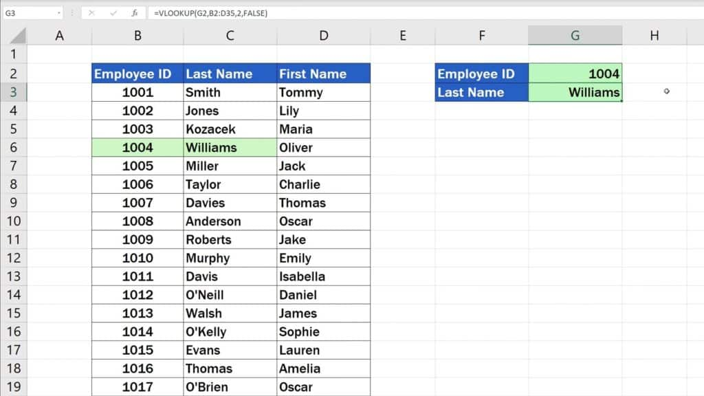 How to Use the VLOOKUP Function in Excel - The VLOOKUP Function - 1004 - Williams