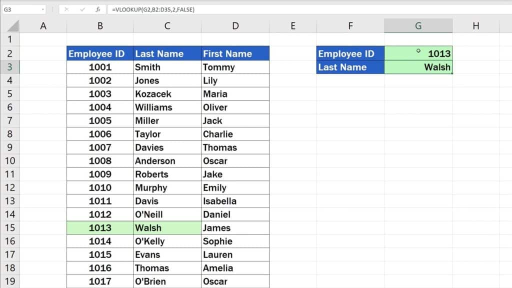 How to Use the VLOOKUP Function in Excel - The VLOOKUP Function - 1013 - Walsh