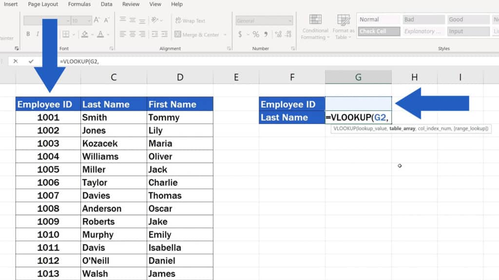How to Use the VLOOKUP Function in Excel - The VLOOKUP Function - The Employee ID - the cell G2