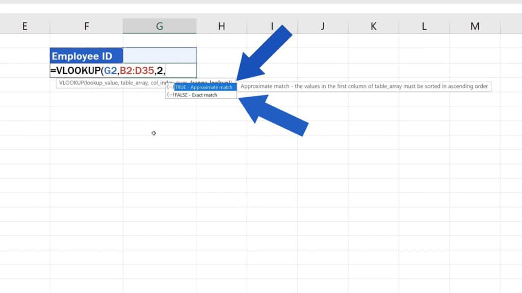 How to Use the VLOOKUP Function in Excel - The VLOOKUP Function - True or False function