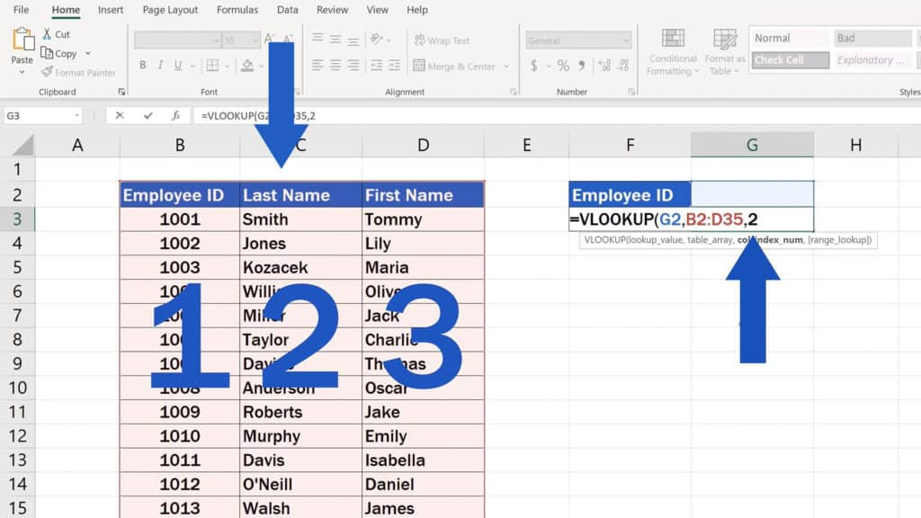 How to Use the VLOOKUP Function in Excel - The VLOOKUP Function - Type in 2