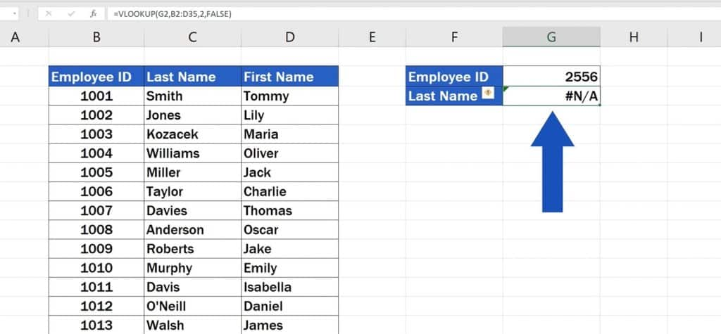 How to Use the VLOOKUP Function in Excel - The VLOOKUP Function - any valid result