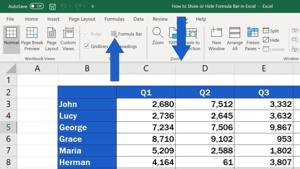How to Show or Hide the Formula Bar in Excel - Hide the Formula Bar