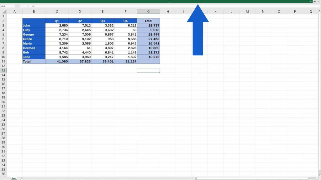 How to Show or Hide the Ribbon in Excel - Clicking into the bar located at the top of the window