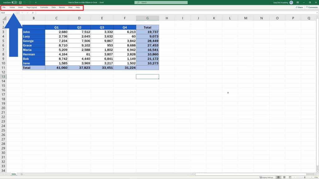 How to Show or Hide the Ribbon in Excel - Show Tab Names