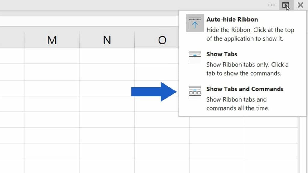 How to Show or Hide the Ribbon in Excel - Show Tabs and Commands