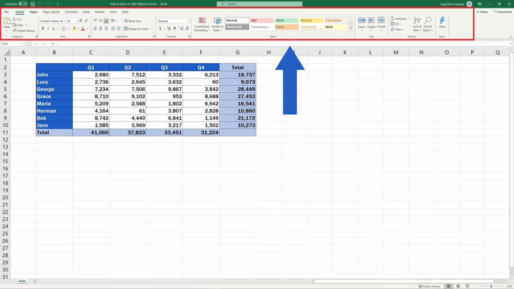 How to Show or Hide the Ribbon in Excel - The Ribbon in Excel