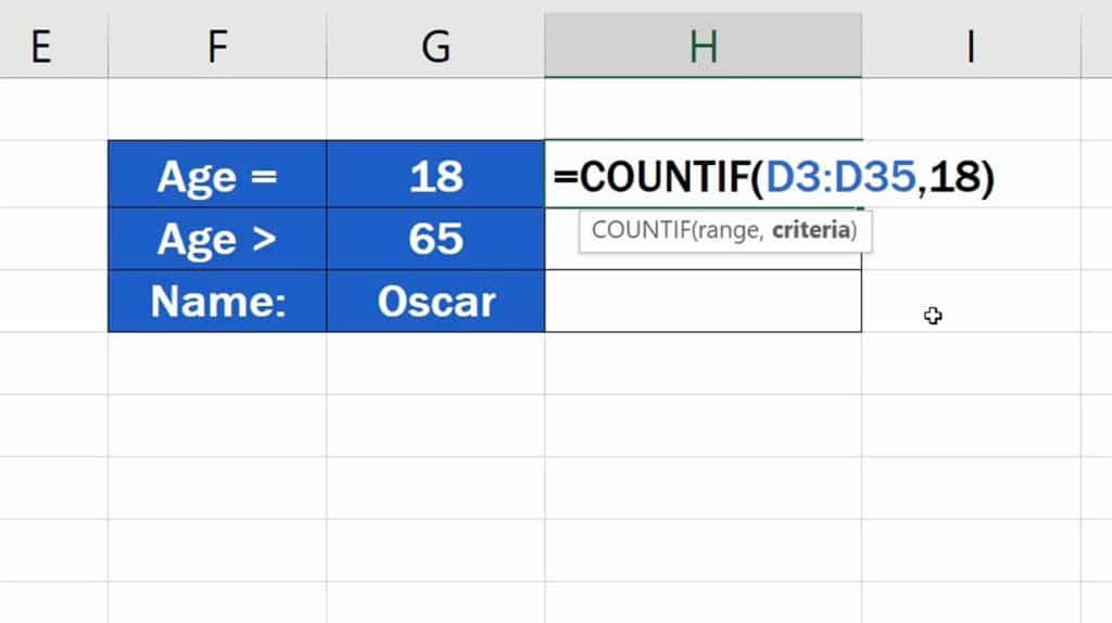 How to Use the COUNTIF Function in Excel - COUNTIF Function - Criteria choosen