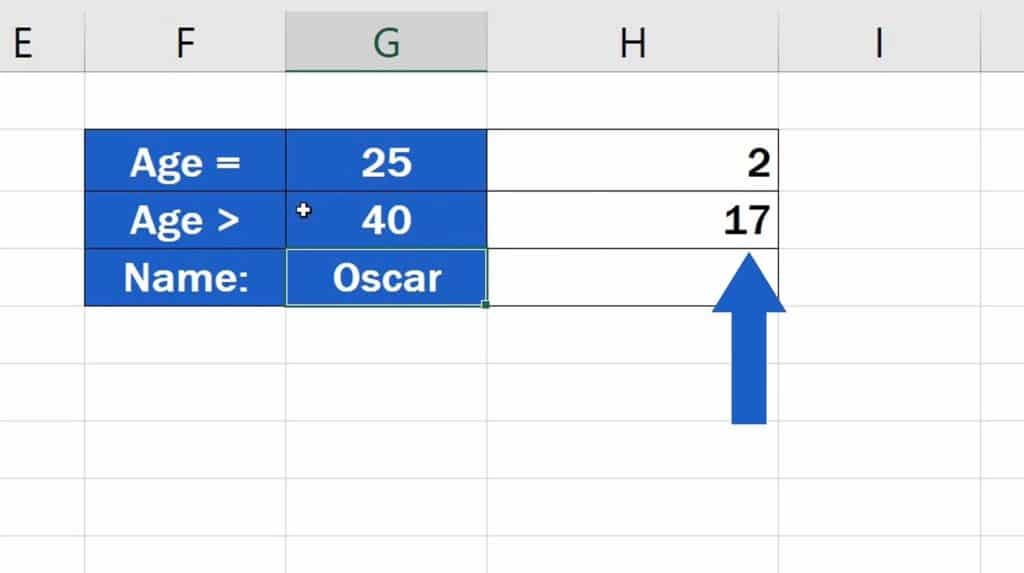How to Use the COUNTIF Function in Excel - change the value in G3 to 40