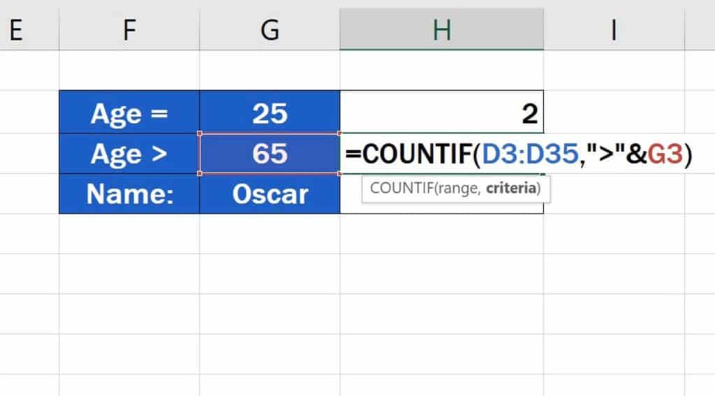 How to Use the COUNTIF Function in Excel - the Criteria is based on comparing values - Dynamic function
