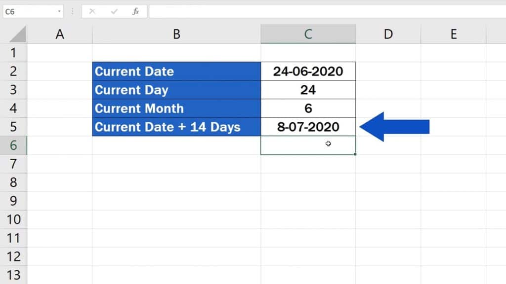 How to Use the TODAY Function in Excel - Current Date + 14 Days - Result