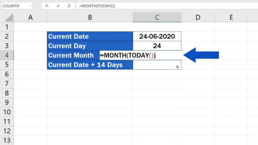 How to Use the TODAY Function in Excel - Current Month
