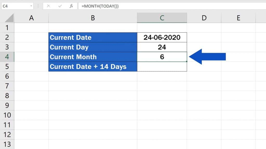 How to Use the TODAY Function in Excel - Current Month - Change the Formating to General - Result