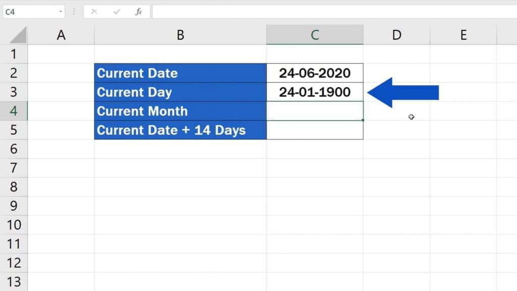 How to Use the TODAY Function in Excel - Show which Day of the Month It Is - Result